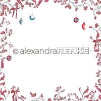Papier - Xmas - Floral Christmas berry branches frame red